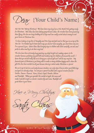 personal letter from santa with your childs name
